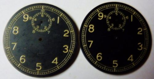 LOT OF 2 ELGIN WW2 DECIMAL CHRONOGRAPH BLACK STOP WATCH DIALS ONLY FROM ESTATE !