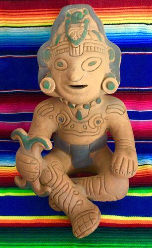 Vintage Large Pre Columbian Style Mayan Aztec Figure Pottery Folk Art
