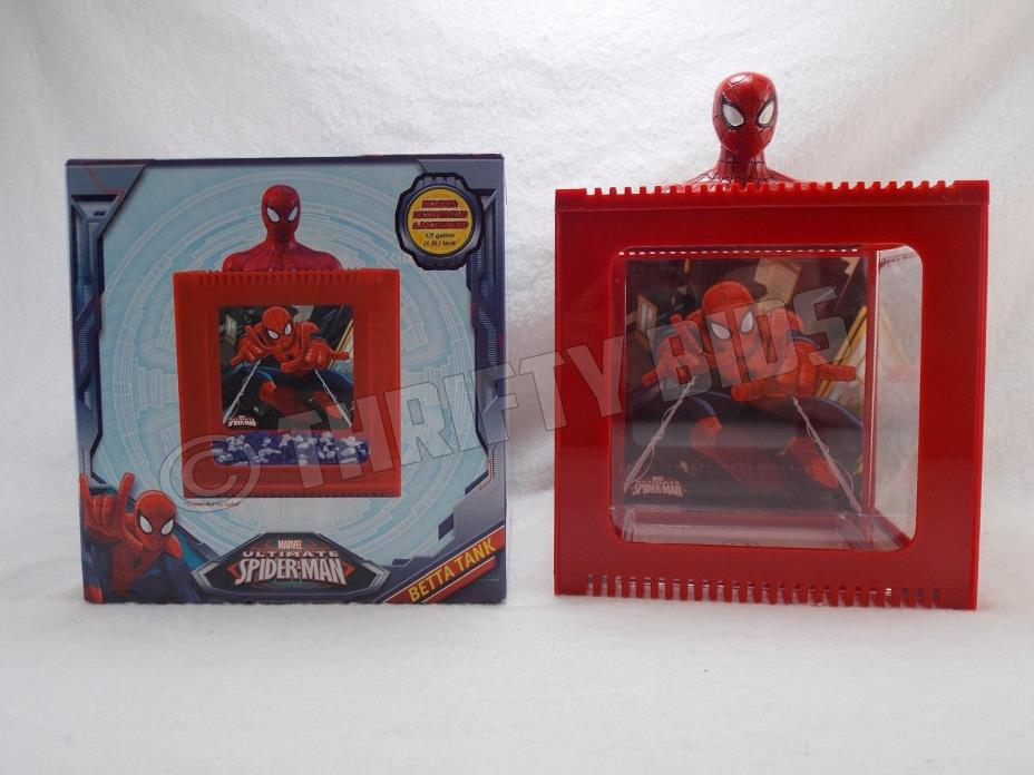 Marvel Ultimate Spiderman Betta Tank Fish Aquarium 1/2 gallon FFP6370 Open Box
