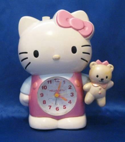 Vintage SANRIO Pink Hello Kitty & Teddy Bear CITIZEN Analog Quartz Alarm Clock