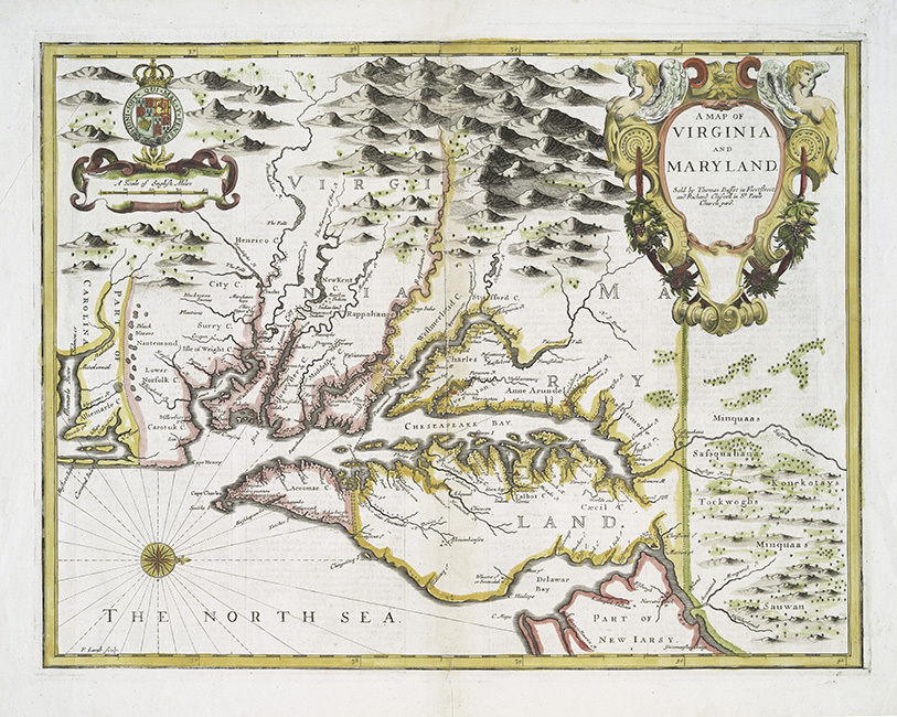 1756 Map of Virginia and Maryland CANVAS PRINT