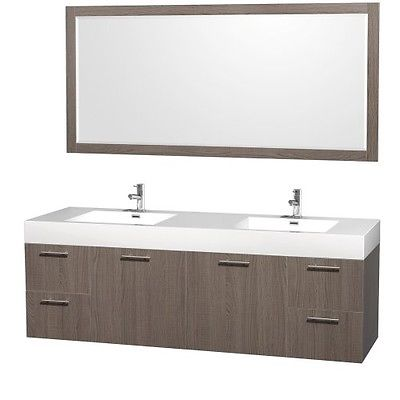 Wyndham Collection Amare 72 inch Double Bathroom Vanity in Grey Oak with Acrylic