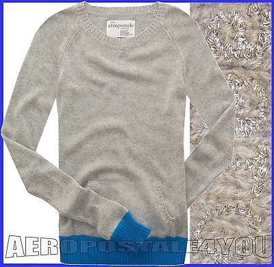 AEROPOSTALE BLUE POP TRIM GRAY REAL ANGORA FLEECE POCKET SWEATER Womens Size S