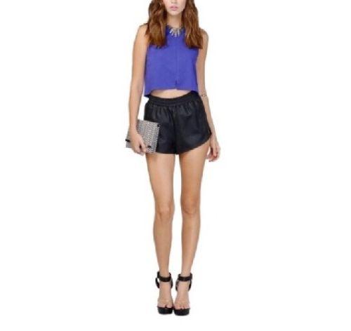Tobi Faux Vegan Leather Black Shorts Sz Small