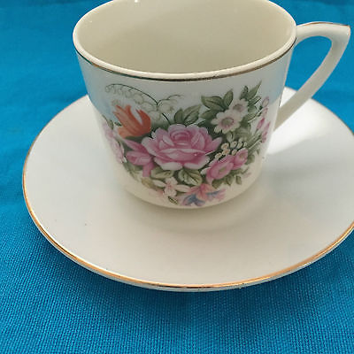 Beautiful Japanese Floral Tea Cup and Saucer