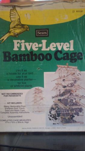 vintage five level tier bamboo cage new in original box