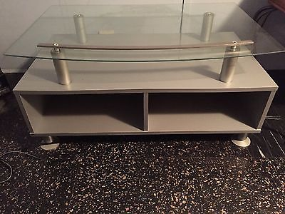 2 Tier Silver Solid Wood and Glass TV Stand