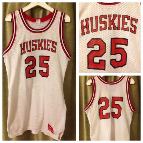Vintage 1980's Rawlings HUSKIES Sz. 44 Red White Basketball Jersey Northeastern?
