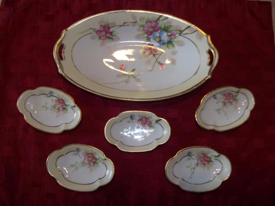 NIPPON~HAND PAINTED ROSES~NUT BOWL SET~GOLD TRIM~6 pc CIRCA:1912