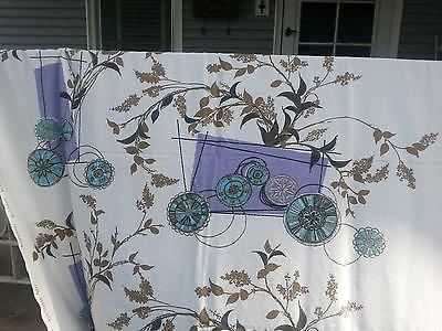 4 Pcs. Vintage Fabric-Waverly Screen Print Promenade Puple & Turquoise Carts