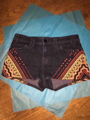 Urban Outfitters Bdg Shorts Embroider Aztec Denim Sz 27
