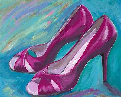 ORIGINAL TRENDY ART 8X10,  RED STILETTO SHOES by California Artist R. Bitton