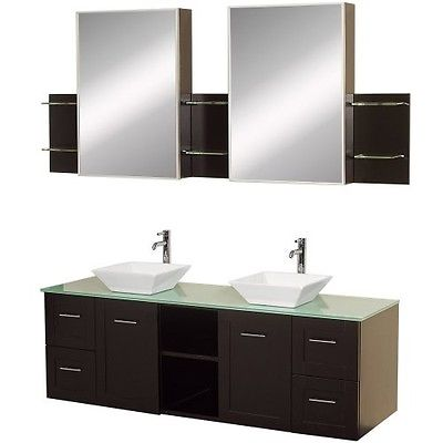 Wyndham Collection Avara 60 inch Double Bathroom Vanity in Espresso with Green G