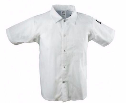 NWT Chef Revival White Short Sleeve Collared Cook Shirt Size L Large CS006WH New