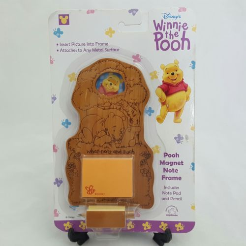Disney Winnie the Pooh Wooden Magnet Note Frame Note Pad Pencil By Applause New