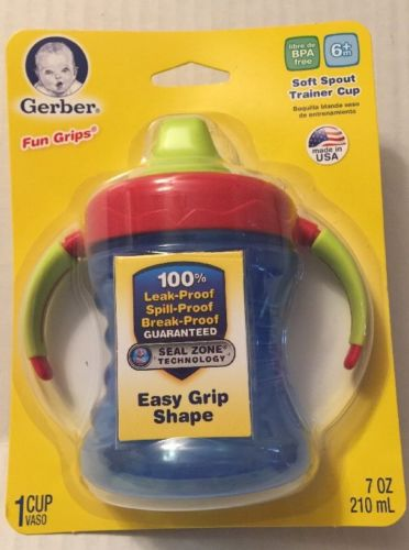 Gerber Trainer Cup Soft Spout Fun Grips Nuk 7 Oz NIP Blue Red