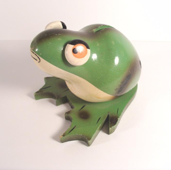 Wood Green Frog Bank Vintage Folk Art Made In France Eyes Move 1920 1930