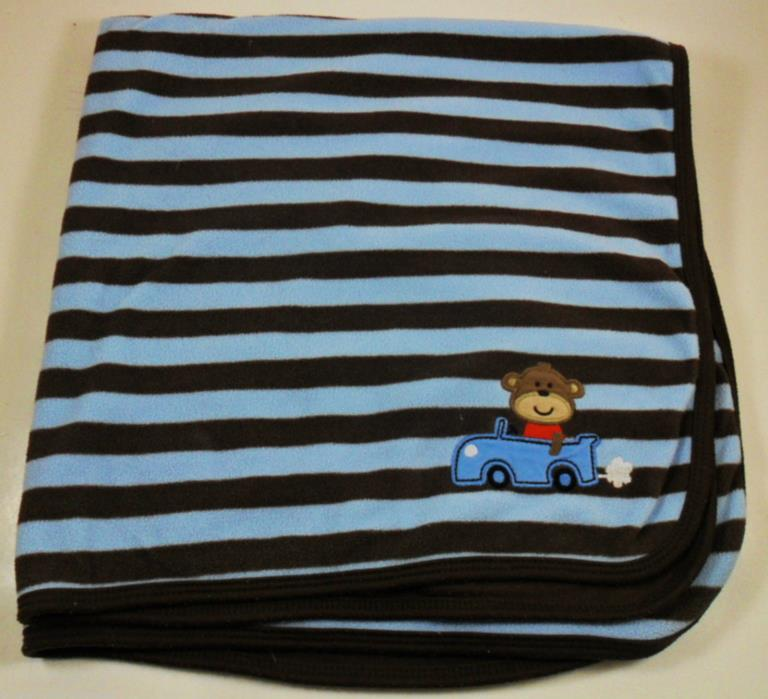 Carter's Baby Blanket Monkey Car Brown and Blue striped 26