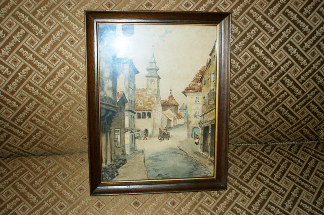 ANTIQUE VINTAGE OLD PAINT EUROPE.OLD TOWN  PAINTING PRINT ENGRAVING RARE  N/R