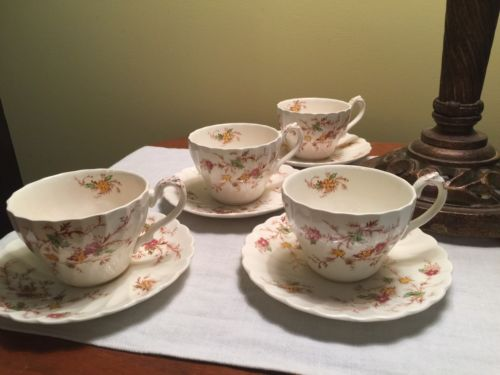 Vintage MYOTT Heritage English China Cups And Saucers, 4 Sets