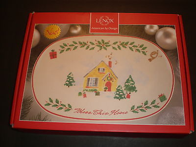 New Lenox White Bless this Home Tray Holiday Inspirations, Christmas; NIB