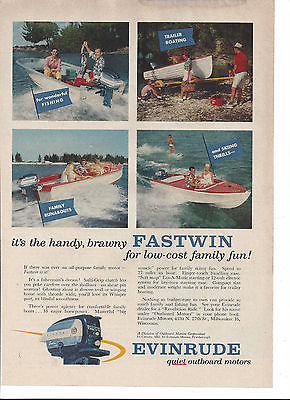 1958 EVINRUDE FASTWIN OUTBOARD MOTOR PAPER AD, FULL PAGE AD