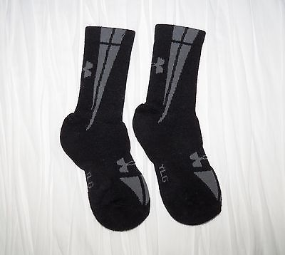Under Armour Mid Crew Socks Youth Large (YLG) Black / Gray