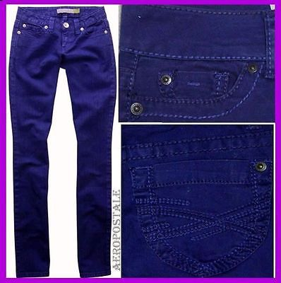 AEROPOSTALE ROYAL BLUE STRAIGHT SLIM SMOOTH BAYLA JEANS PANTS Womens Sz 00 26,27
