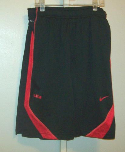 Nike Boys Youth L Large Basketball Shorts Black With Red Dri Fit