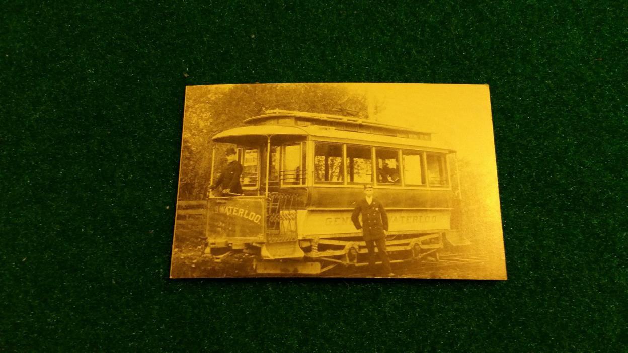 Vintage Geneva & Waterloo #2 Trolley Car Postcard