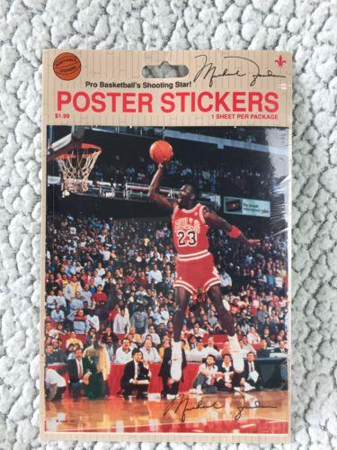 Michael Jordan 23 Chicago Bulls 1980-1990s Poster Sticker Sealed In Package