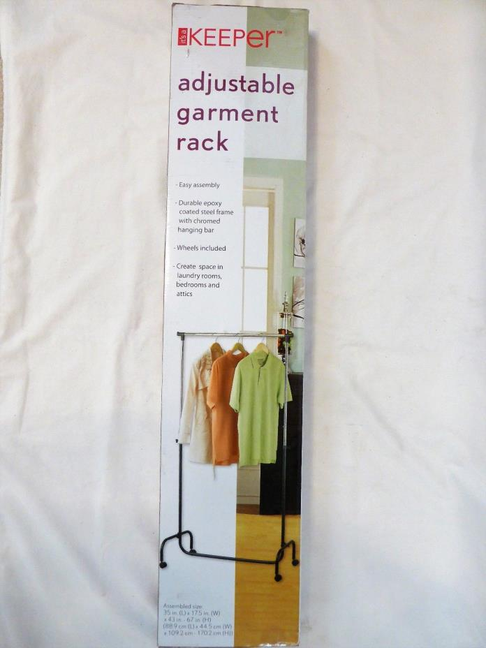 NEW Keeper Adjustable Rolling GARMENT RACK Clothing Hanger Bar