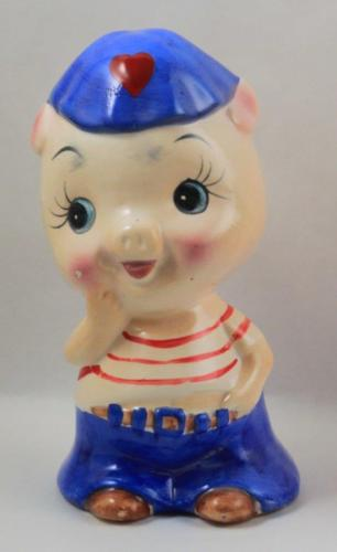 Coin Bank Ceramic Boy Pig Stopper Baby Nursery Coin