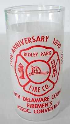 75th Anniversary Ridley Park PA. Fire Co. 1890-1965 59th Convention Glass
