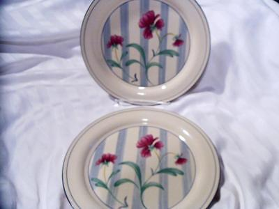 LENOX Vintage POPPIES ON BLUE BOTANICAL 2 Pc DINNER PLATES Fair Condition USA