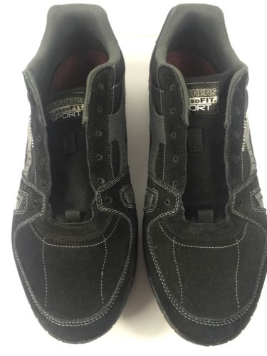 Skechers Shoes Mens Floater 51328 Down Time Black Driving Suede Sneakers 14