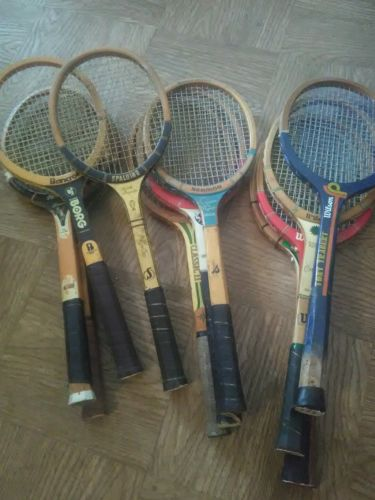 Lot of 45 Vintage Wooden Tennis Racquets - 1 Aluminum Rackets (46 Total)