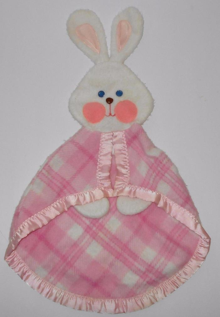 Vintage Fisher Price Pink Plaid Bunny Rabbit Security Blanket Lovey 1979