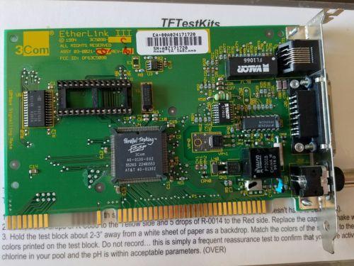 3Com 03-0021-001 Etherlink III ISA Network Card BNC, RJ-45, D-Sub 15-Pin Rev. B1
