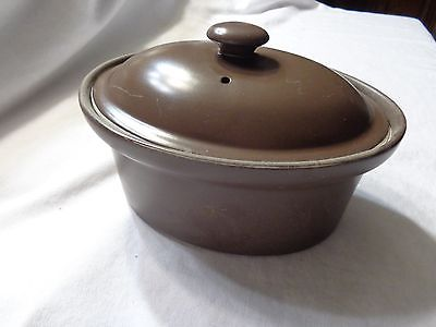 Vintage HALL Casserole & Lid  Brown Oval Baking Dishes