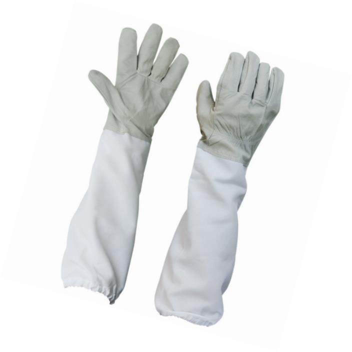 Zamango 1 Pair Goatskin Beekeeper Beekeeping Protective Gloves with Vented Long