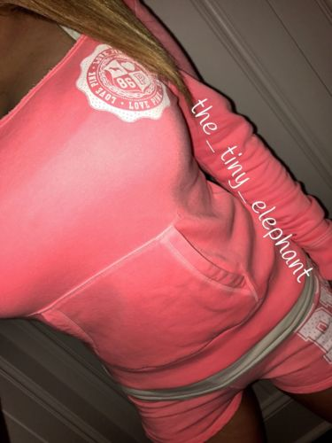 Victoria Secret Love Pink 86 Jersey Graphic Coral Slouchy Crew Sweats Shorts Set