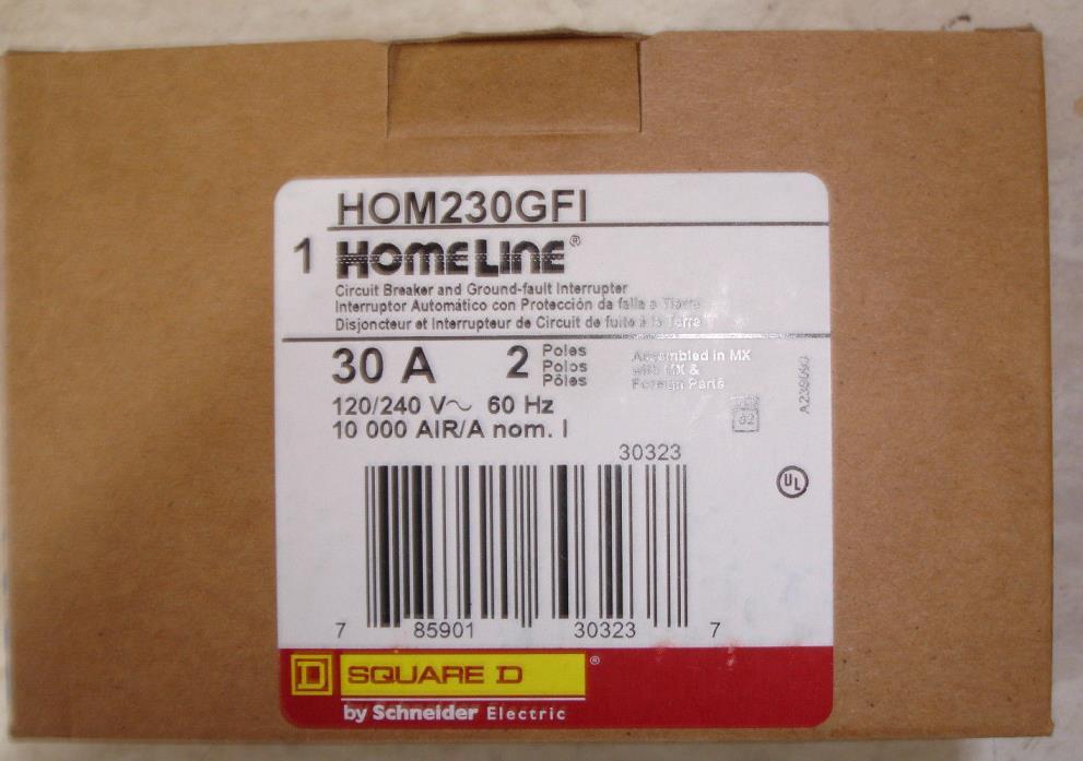 New Square D Homeline HOM230GFI 30 amp GFI Ground Fault Circuit Breaker