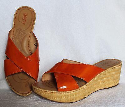 BORN Womens Orange Patent Leather Wedge Platform Slides 9 M/W  RETRO MOD