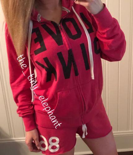 Victoria Secret Love Pink 86 Oversized Full Zip Hoodie Sweat Shorts VS Set L XL