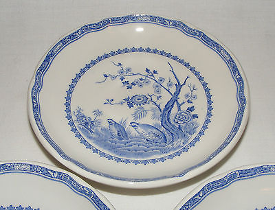 3 FURNIVALS BLUE QUAIL 1913 ENGLAND  SAUCER PLATE SET  EXCELLENT CONDITION