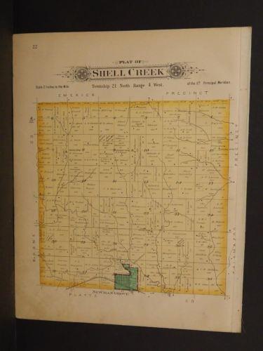 Nebraska Madison County Map School Craft Shell Creek  1899 Double Sided  J9#22