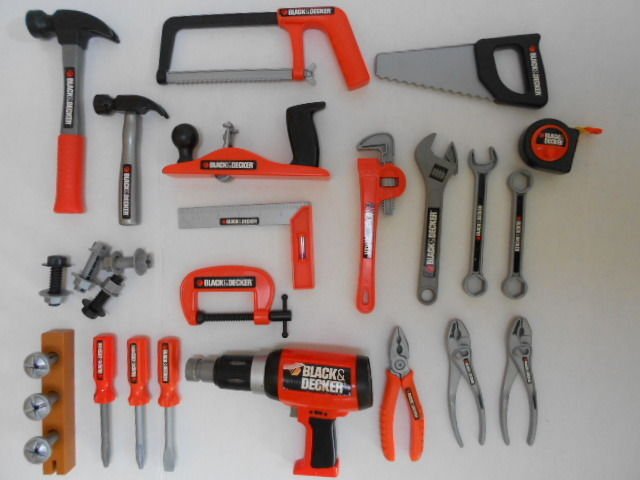 Lot of 24 BLACK & DECKER Kids Pretend Plastic Toy Tools