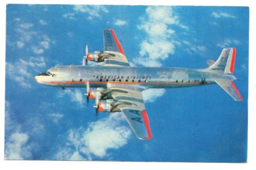 3664:* AA American Airlines DC-7 Flagship in Flight c1955 Postcard