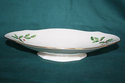 Lenox Christmas Holly & Berry 9 inch Footed Oblong Dish for Nuts, Candy